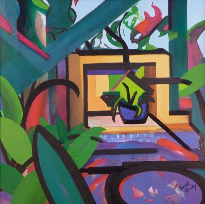 Яркие цвета и ломаные линии. Janet Mirsky