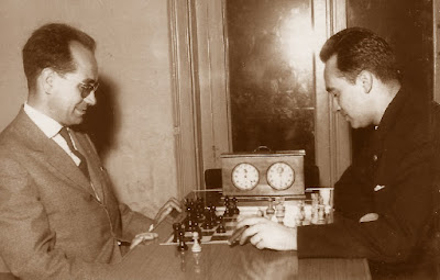Jaume Mora y Josep Ridameya en el Campeonato de Ajedrez de Catalunya 1964