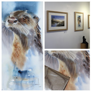 otter original watercolour in gallery painting art artist somerset