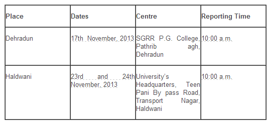Place  Dates  Centre  Reporting Time  Dehradun  17th  November, 2013  SGRR P.G. College, Pathrib agh, Dehradun  10:00 a.m.  Haldwani  23rd and 24th November, 2013  University's Headquarters, Teen Pani By pass Road, Transport Nagar, Haldwani  10:00 a.m.