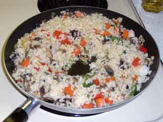 Veggie Fried Rice, so cook it a bit