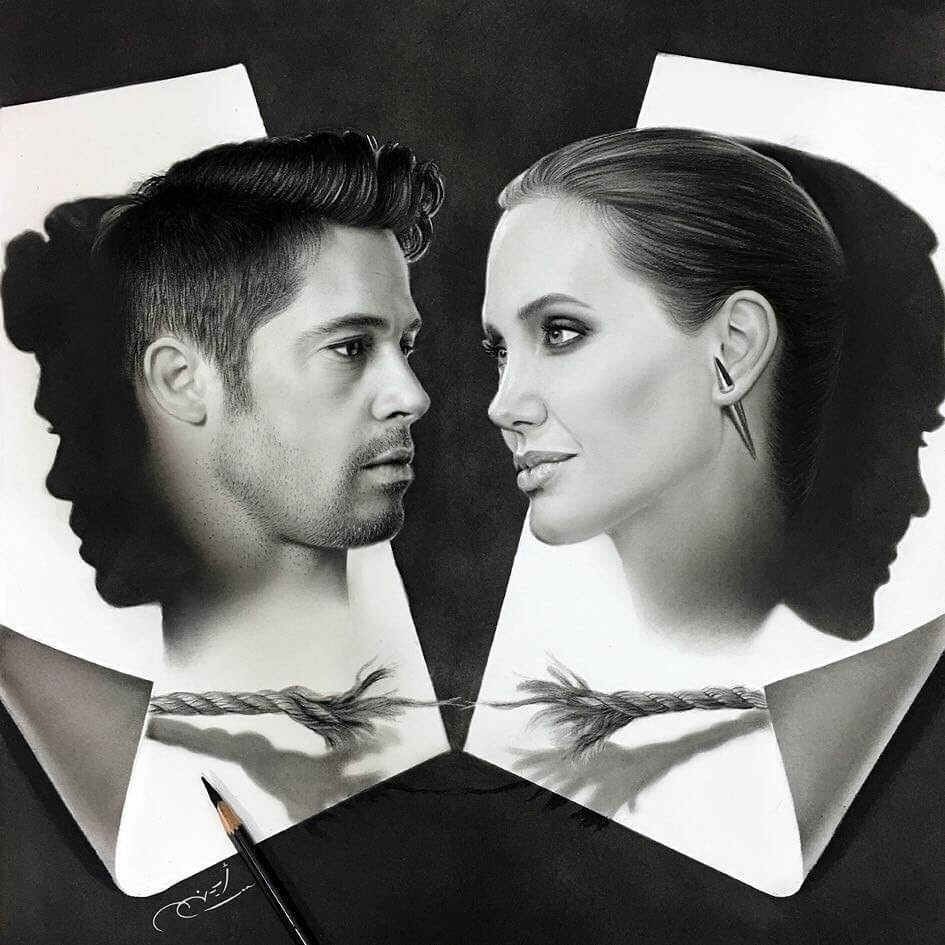 03-Angelina-Jolie-and-Brad-Pitt-Aymanarts-Realistic-3D-Illusion-Portrait-Drawings-www-designstack-co