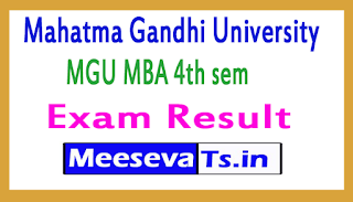 Mahatma Gandhi University MGU MBA 4th sem Exam Results