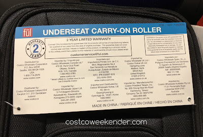 Costco 1082938 - Ful Underseat Carry-on Roller - Perfect in the confines of a commercial airline cabin