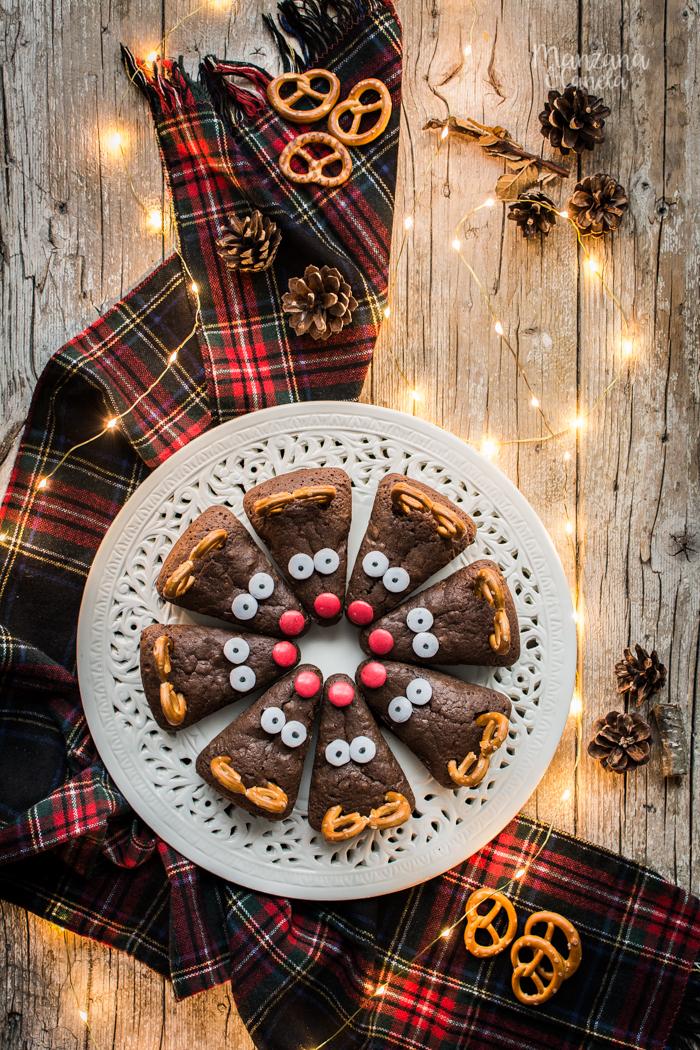 Brownies navideños de renos