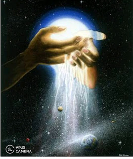 The hand of God figuratively creating the universe.
