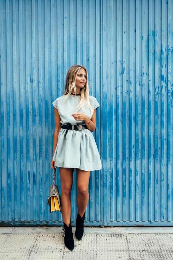 Janni Deler - Blue Dress Black Velvet Choker Suede Ankle Boots Gucci Dionysus Bag