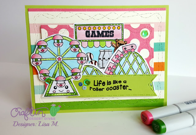 Fun Day handmade card featuring roller coaster, ferris wheel, merry go round, and sentiments