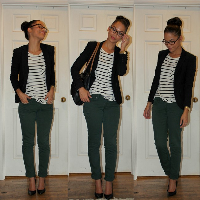 Green Jeans Stripes Blazer