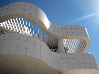 The curving walls of The Getty Center Enntrance Hall.