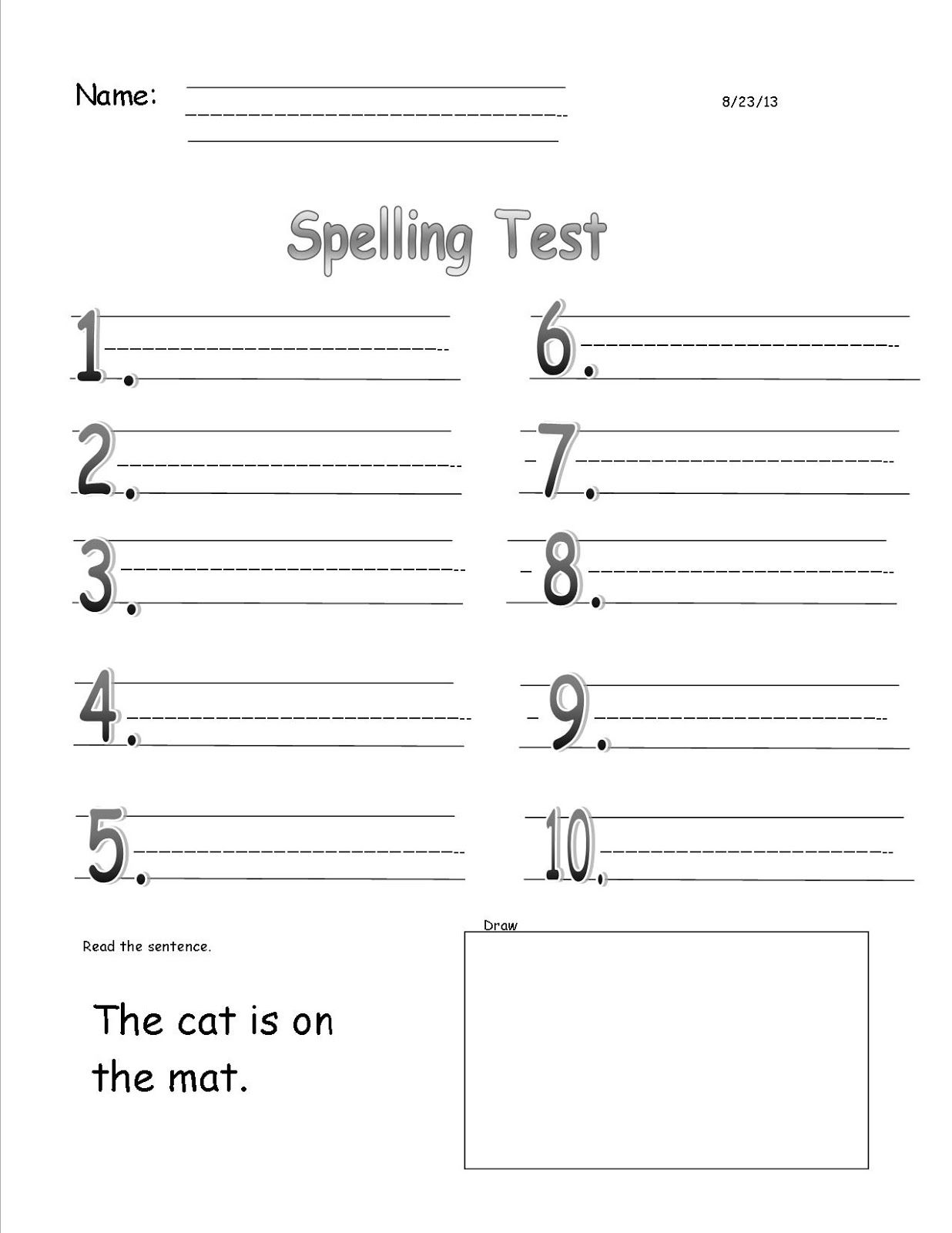 Back To School Spelling Test Templates Freebie These Are