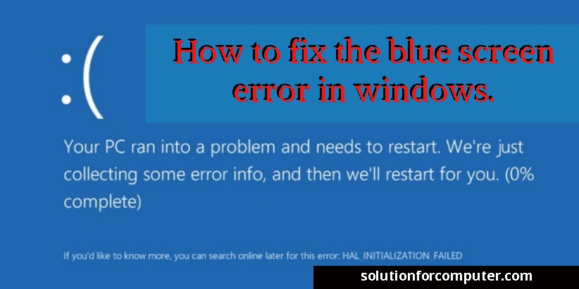 how to fix the blue screen error in windows. Black Bedroom Furniture Sets. Home Design Ideas