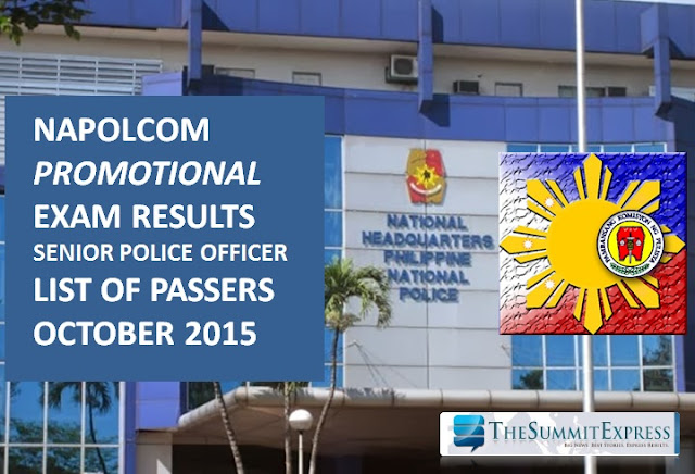 October 2015 NAPOLCOM Promotional Exam results out: Senior Police Officer