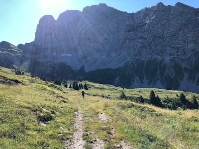 Last view of Presolana as the trail descends.