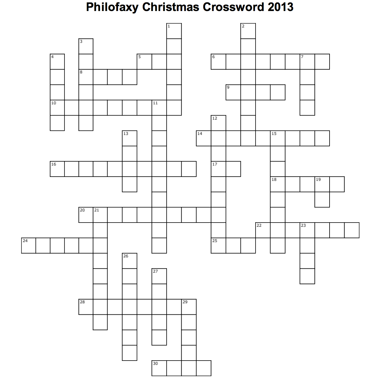across - Christmas Crossword Answers