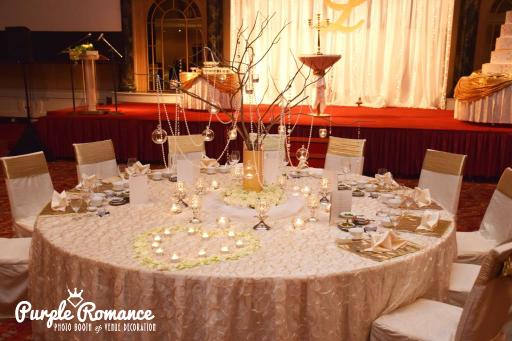 VIP table, main, ballroom, centerpiece, branches, dangling pearls, candles, lights, decoration, elegant, setup, malaysia, kuala lumpur, selangor, vendor