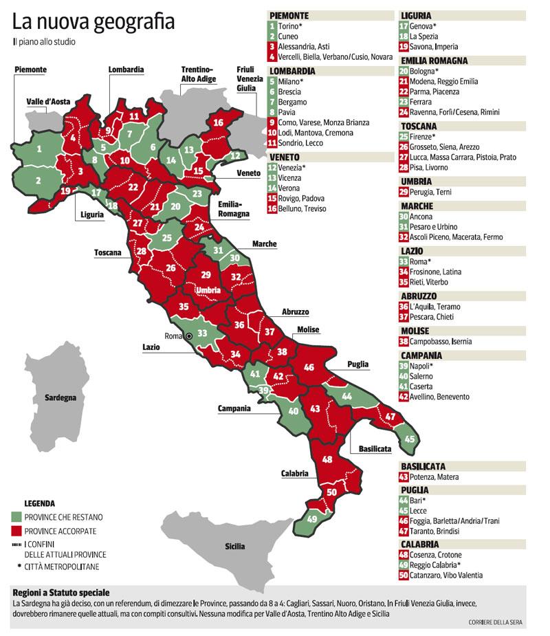 Riordino delle Province: l'ipotesi sul tavolo del Governo