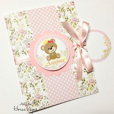 convite aniversário artesanal infantil personalizado ursinha princesa floral delicado provençal 3d