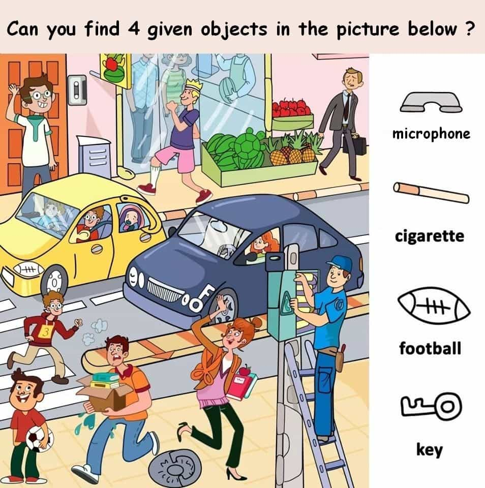 Find 4 Objects in the picture puzzle