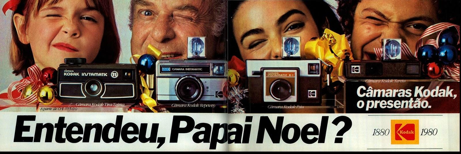 Propaganda antiga da Kodak apresentando sugestões de presente para o Natal de 1979