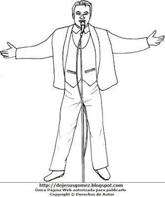 Imagen de Juan Gabriel con su micrófono para colorear pintar imprimir. Juan Gabriel hecho por Jesus Gómez