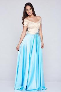 Rochie de ocazie brodata LaDonna albastra-deschis din material satinat 1