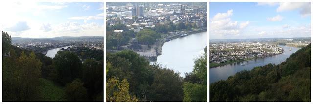 Deutsches Eck visto da fortaleza (Festung Ehrenbreitstein), Koblenz, Alemanha
