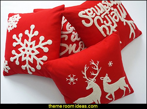 Embroidered Red Decorative Throw Pillows Christmas Cover Set of 4 Deer,let It Snow,merry Christmas,white Snow