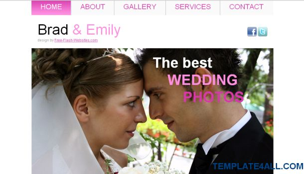 Brad Emily Wedding Pink Free CSS Template