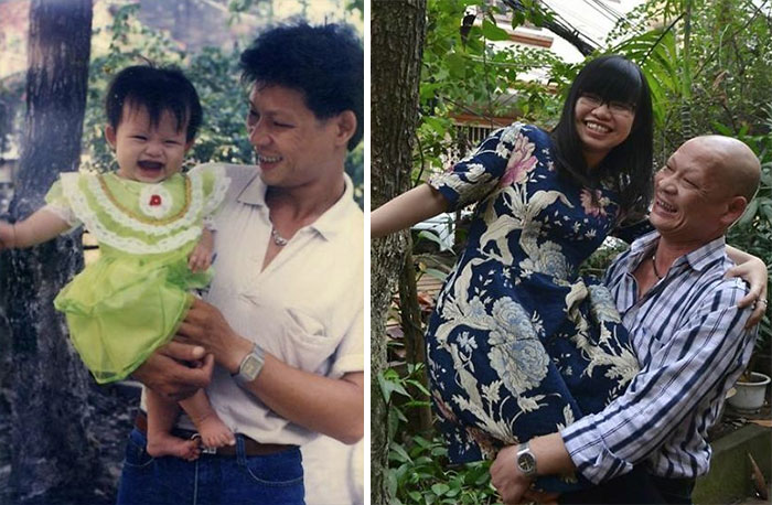 30 Beautiful Recreations Of Childhood Pictures - Me And My Dad 20 Years Later. It's All About The Hair And The Teeth I Guess