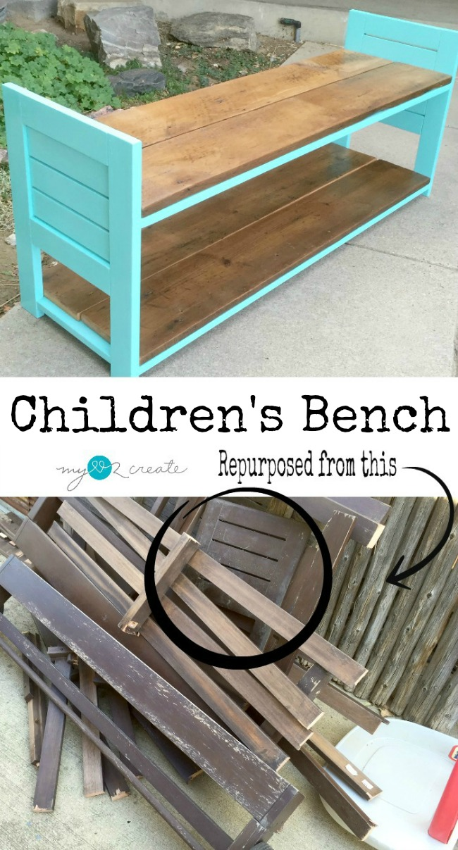 Follow the simple picture tutorial to build your own Children's Bench, with a storage shelf out of reclaimed wood from MyLove2Create.
