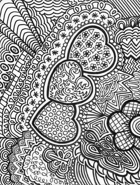 Hearts Doodle Adult Colouring Page