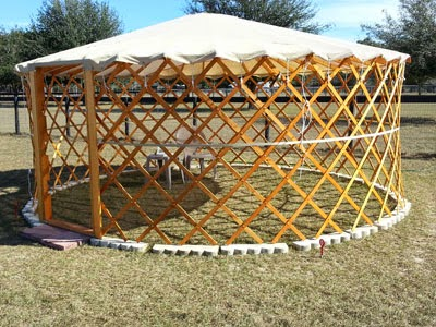 Shade yurt for our vertical container garden