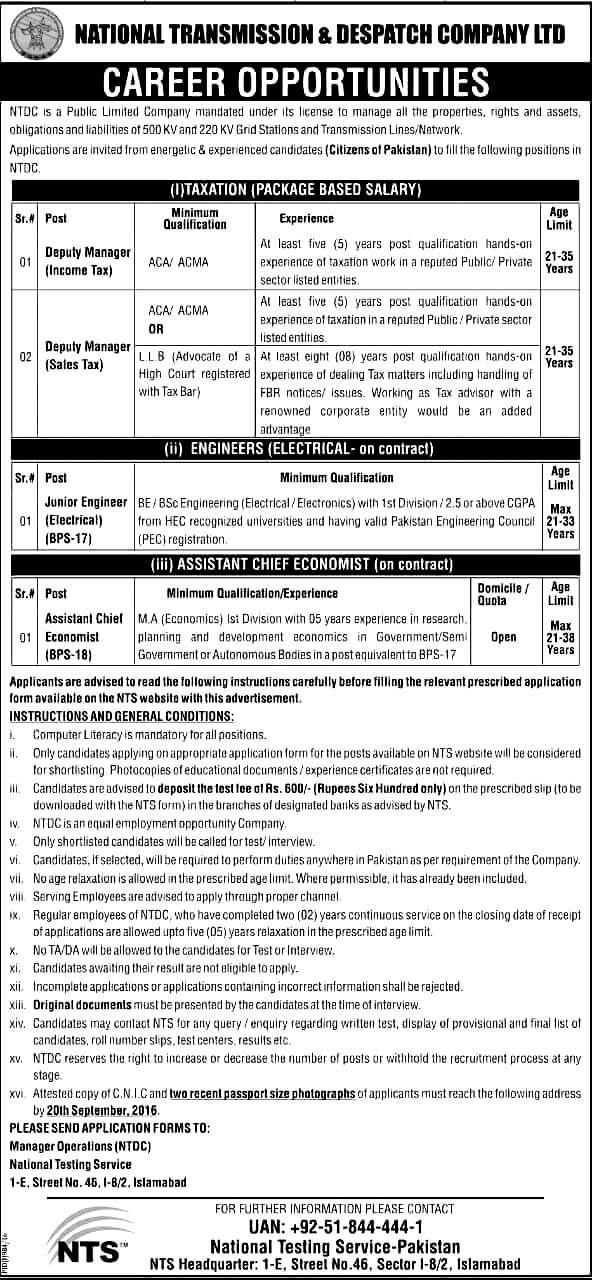 National Transmission And Dispatch Company Ntdc Jobs 2016