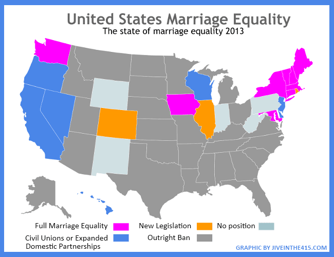 Marriage equality map of the United States jiveinthe415.com