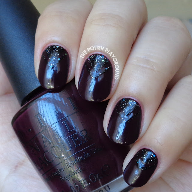 Vampy Purple with Glittery Black Double Chevron Half Moon Nail Art