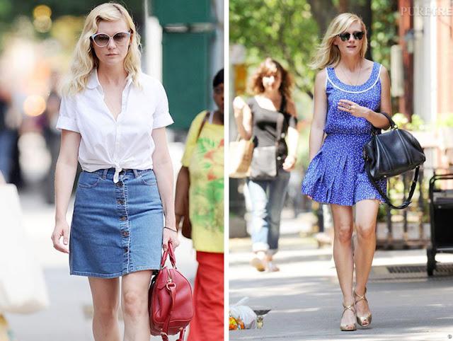 Кирстен Данст в белой рубашке и в голубом платье