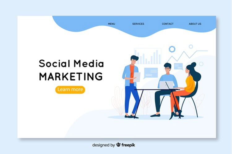 Download Wallpaper Social Media Marketing Landing Page Template