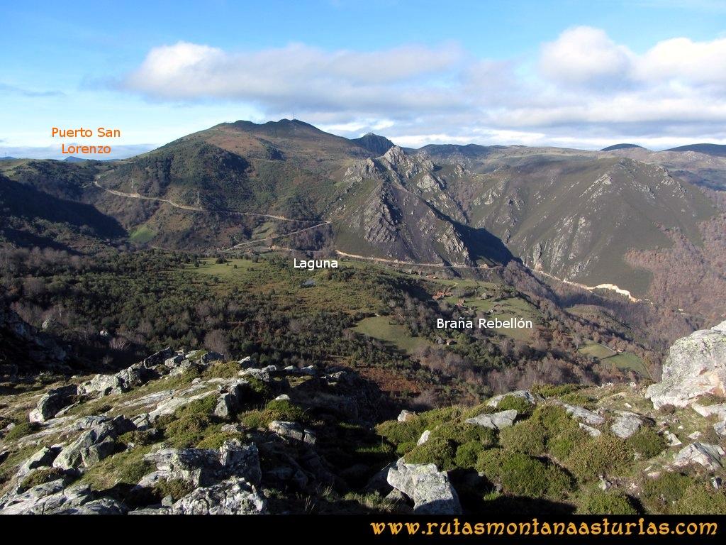 Ruta Tromeu y Braña Rebellón: Desde la Peña Tromeu, vista del Puerto de San Lorenzo