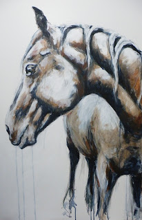Acrylic painting of horse, Connemara cross