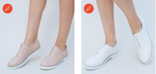 Pantofi casual dama roz, albi simpli si moderni de primavara
