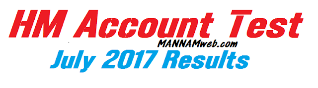 Account Test for the Headmasters and Headmistresses of Secondary and Training Schools July  2017     Enter your Roll number then you will get result   View....HM Account Test July 2017 Results