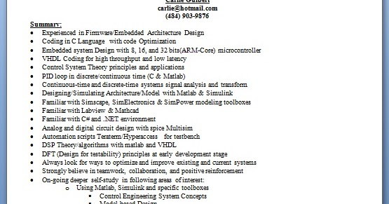 embedded engineer sample resume format in word free download