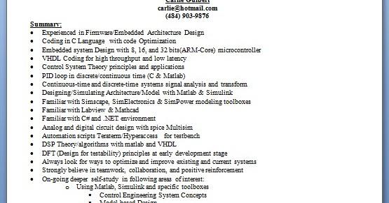 embedded engineer sample resume format in word free download
