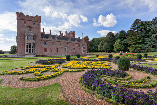 Oxburgh Hall gardens in full bloom
