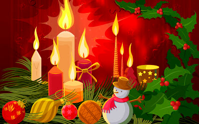 decorated-candels burning-Christmas-desktop-wallpapers