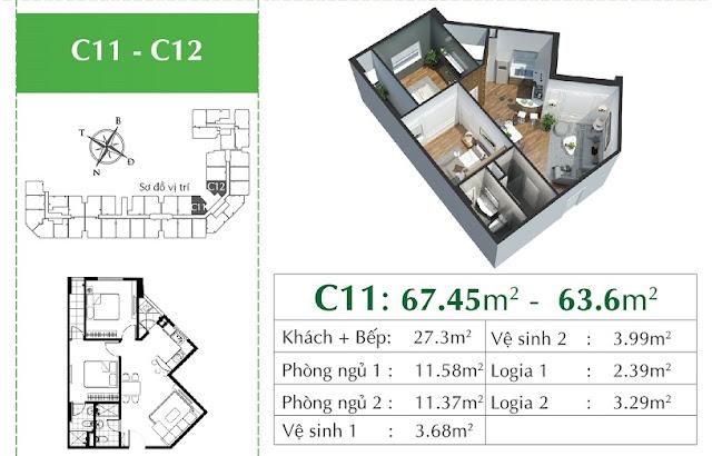 Thiết kế chi tiết căn C11 - C12 Eco City Việt hưng