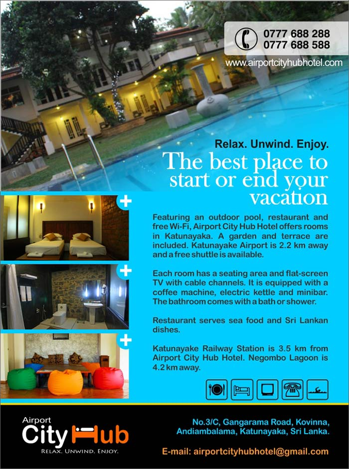 Featuring an outdoor pool, restaurant and free Wi-Fi, Airport City Hub Hotel offers rooms in Katunayaka. A garden and terrace are included. Katunayake Airport is 2.2 km away and a free shuttle is available.  Each room has a seating area and flat-screen TV with cable channels. It is equipped with a coffee machine, electric kettle and minibar. The bathroom comes with a bath or shower.  Restaurant serves sea food and Sri Lankan dishes.  Katunayake Railway Station is 3.5 km from Airport City Hub Hotel. Negombo Lagoon is 4.2 km away.