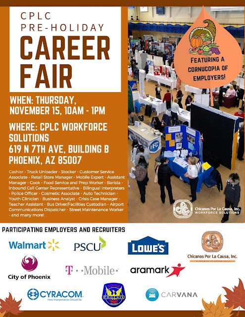Alt text: Poster for event featuring image of a large job fair and text in blog.  Additional text: Featuring a cornucopia of employers.  List of jobs to fill: - Cashier - Truck Unloader - Stocker - Customer Service Associate - Retail Store Manager - Mobile Expert - Assistant Manager - Cook - Food Service and Prep Worker - Barista - Inbound Call Center Representative - Bilingual Interpreters - Police Officer - Cosmetic Associate - Auto Technician - Youth Clinician - Business Analyst - Crisis Case Manager - Teacher Assistant - Bus Driver - Facilities Custodian - Airport Communications Dispatcher - Street Maintenance Worker - And many more!