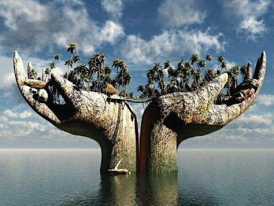 Manos en agua sujetando una isla